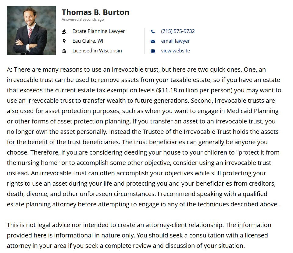 Attorney Thomas B. Burton response to question about using irrevocable trusts in estate planning