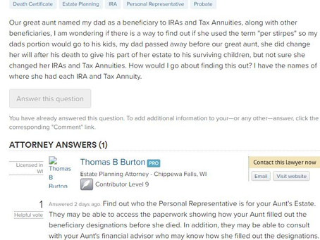 """Q&A Series: How Do I Find Out if the Term """"Per Stirpes"""" was Used in my Great Aunt'"""