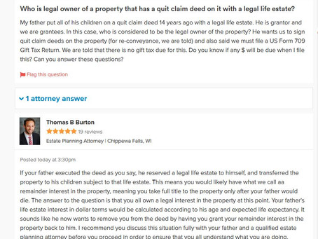 Q&A Series: Who is Legal Owner of a Property That Has a Quit Claim Deed On It with a Legal Life