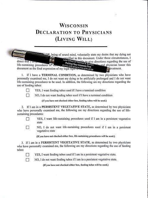 Living Will--(Declaration to Physicians)