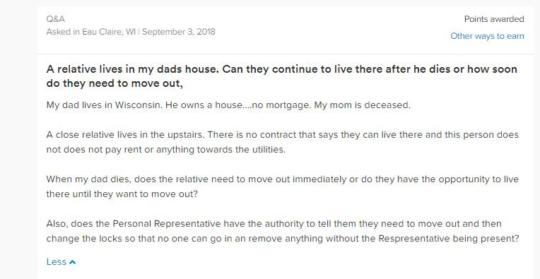 Question in Eau Claire, Wisconsin about how long a relative can live in a house after the death of the owner