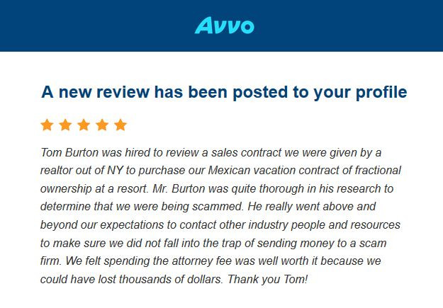 5 Star Review for Law Office of Thomas B Burton