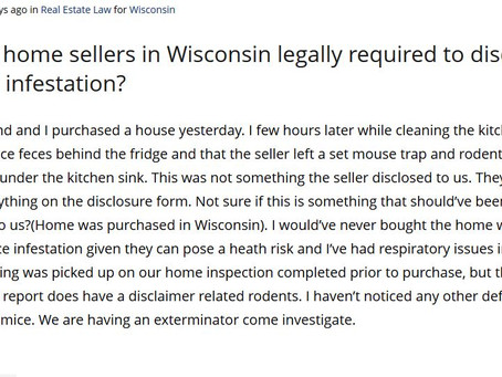 Q&A Series: Are home sellers in Wisconsin legally required to disclose a mice infestation?