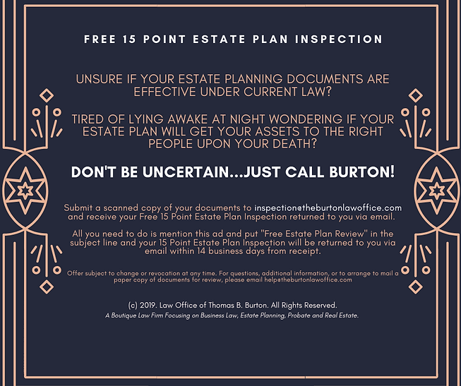 Free 15 Point Estate Plan Inspection for