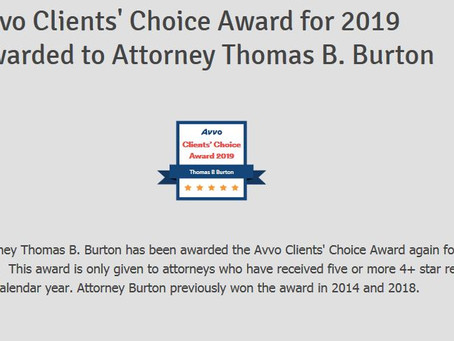 Avvo Clients' Choice Award for 2019 Awarded to Attorney Thomas B. Burton