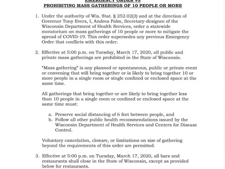 Governor Evers Issues Emergency Order #5 Prohibiting Mass Gatherings of 10 or More People