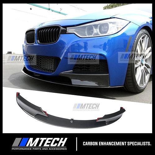 MTECH BMW 3 SERIES F30 MSPORT STYLE CARBON FIBRE FRONT BUMPER LIP SPOILER