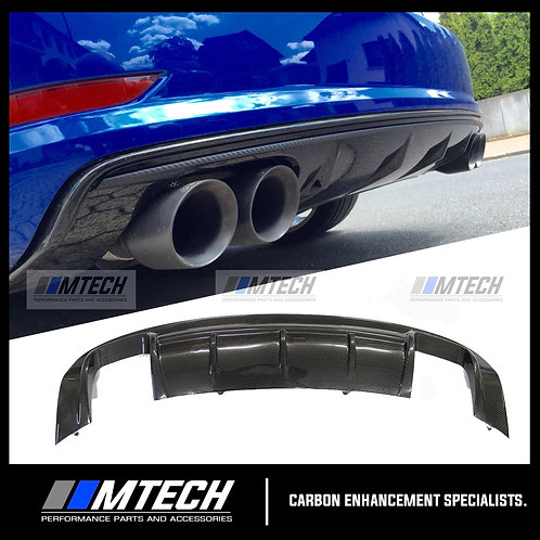 CARBON FIBRE V-STYLE REAR DIFFUSER FOR AUDI A3 S3 RS3 8V SEDAN HATCH
