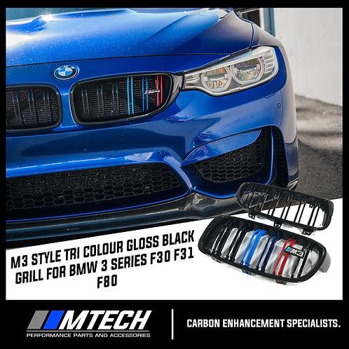 MTECH DUAL SLAT GLOSS BLACK FRONT GRILL W/ M-STRIPE FOR BMW 3 SERIES F30 F31