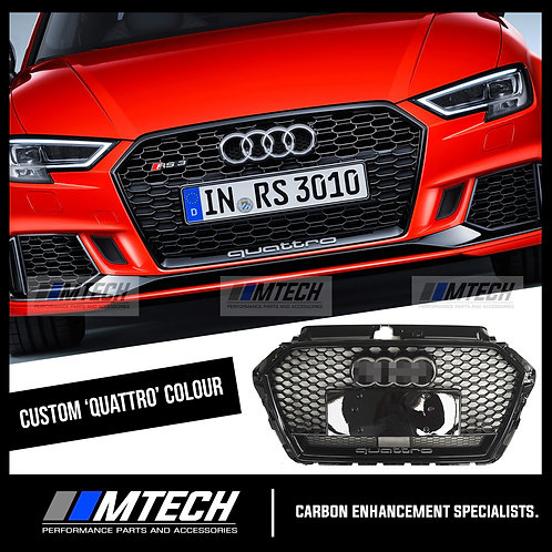 RS-STYLE HONEYCOMB FRONT GRILL BLACK CUSTOM FOR AUDI A3 S3 RS3 8V FACELIFT 2017+