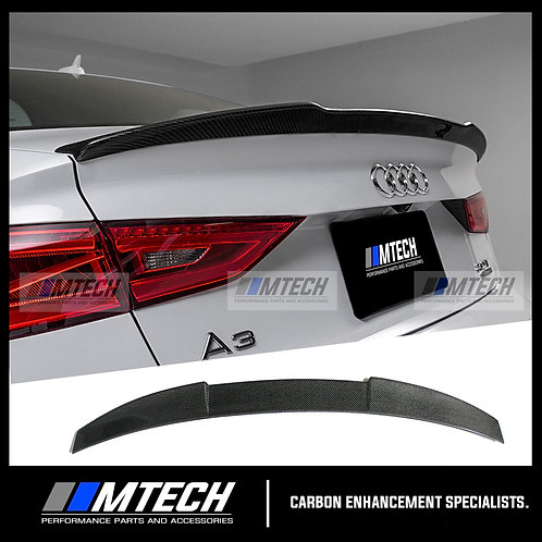 MTECH CARBON FIBRE REAR LIP SPOILER V-STYLE FOR AUDI A3 S3 RS3 8V SEDAN