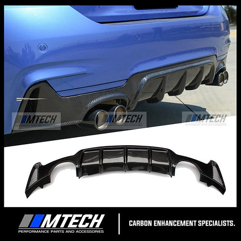 CARBON FIBRE V-STYLE QUAD EXIT REAR DIFFUSER FOR BMW 4 SERIES F32 F33 F36