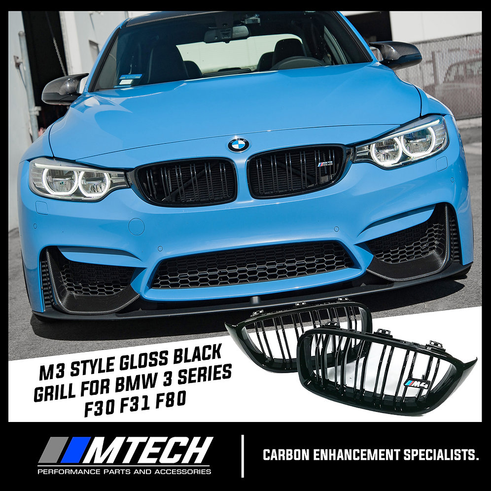 Mtech Gloss Black M3 Style Front Grill Dual Slat For Bmw 3 Series F30 F31