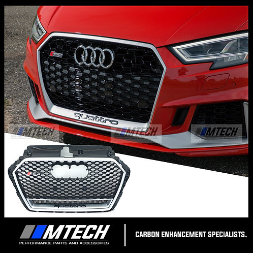 RS-STYLE HONEYCOMB QUATTRO FRONT GRILL BLK/SILVER FOR AUDI A3 S3 RS3 8V FACELIFT