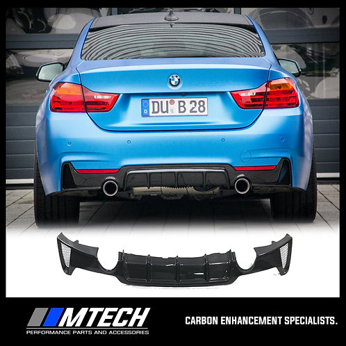 MTECH CARBON FIBRE REAR DIFFUSER DUAL OUTLET FOR BMW 4 SERIES F32 F33 F36