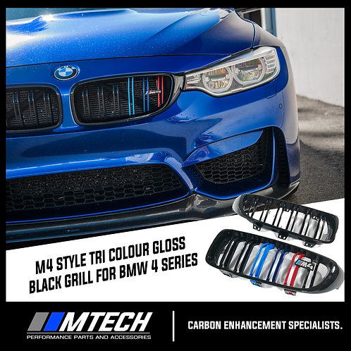 MTECH GLOSS BLACK M4 STYLE FRONT GRILL DUAL SLAT W/ MSTRIPE FOR BMW 4 SERIES