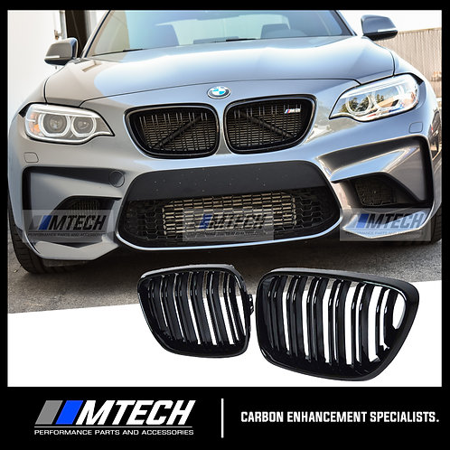 DUAL SLAT GLOSS BLACK FRONT GRILL FOR BMW 2 SERIES F22 F87