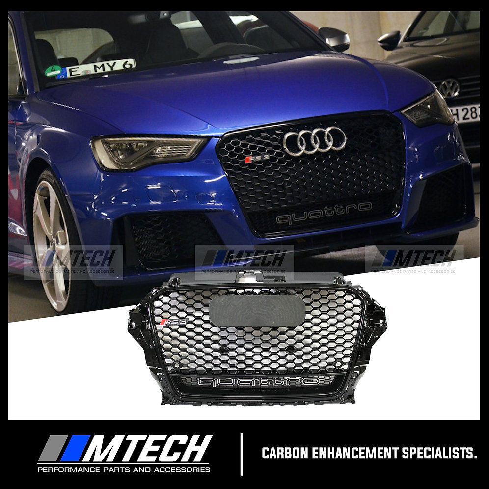 RS-STYLE BLACK HONEYCOMB QUATTRO FRONT GRILL GRILLE FOR AUDI A3 S3 RS3  13'-16'