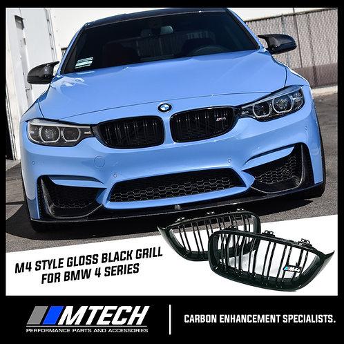 MTECH DUAL SLAT GLOSS BLACK FRONT GRILL FOR BMW 4 SERIES F32 F33 F36 M4