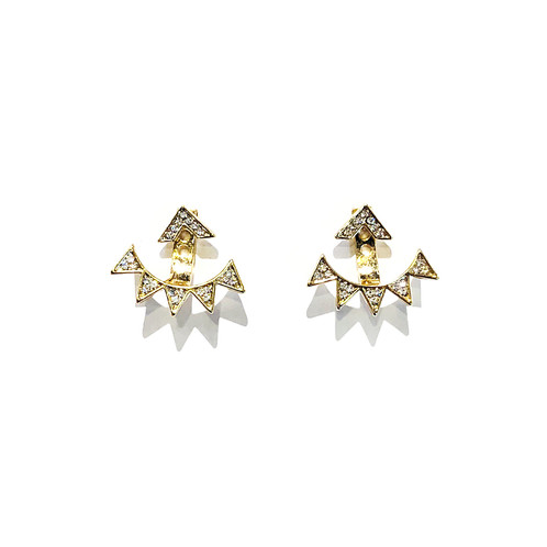 Kikichic Gold Spike Ear Jacket Earrings Silver Pyramid Cz Diamond Behind