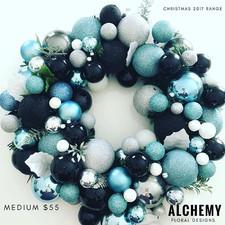 Aquamarine, black, silver and white wrea