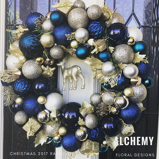 Sapphire blue, gold dust and gold wreath