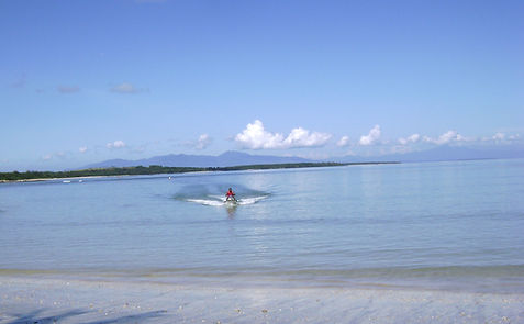 Jet skiing at Angelica Paradise Beach and Resort. Secluded beach in Siruma Camarines Sur Philippines
