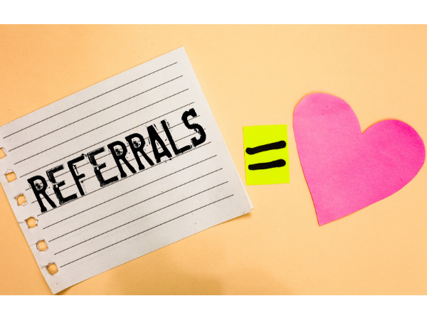 """note with """"referrals equals love"""""""