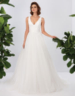 V Neck Ball gown with tulle skirt- Aniyah Symone Private Colection