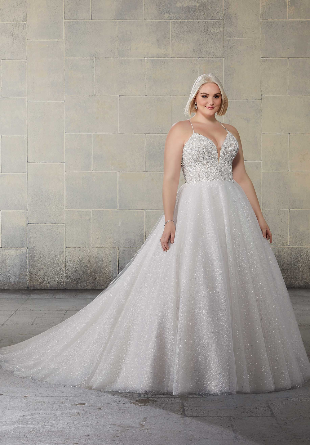 Starlet gown form Mori Lee available at Blush Bridal/ Ball gown with cris cross back.