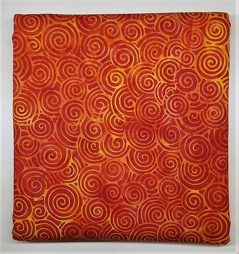1 yard Island Batik Swirls - Orange and Marigold