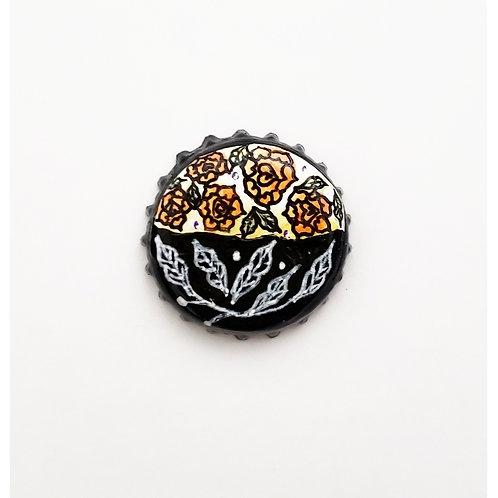 Orange Flower Hearts O'button