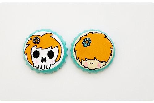 Orange Skull Girl VS Agape Girl O'button Set