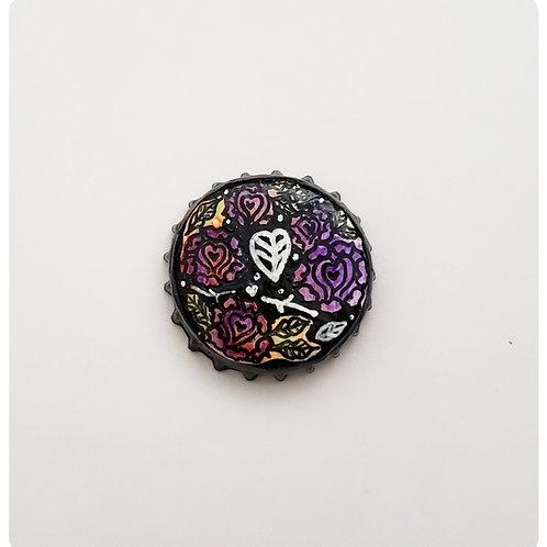 Purple Flower Hearts O'button