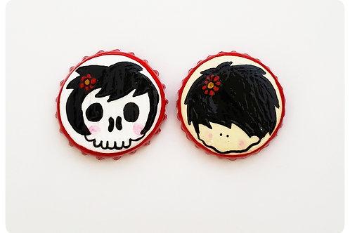 Black Red Flower Skull Girl VS Agape Girl O'button Set