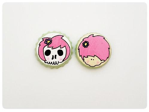Pink Skull Girl VS Agape Girl O'button Set