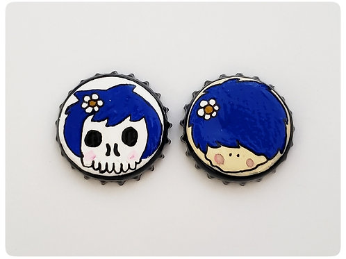 Blue Skull Girl VS Agape Girl O'button Set