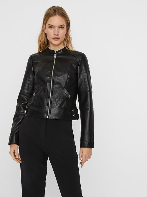 Biker giacca ecopelle nero
