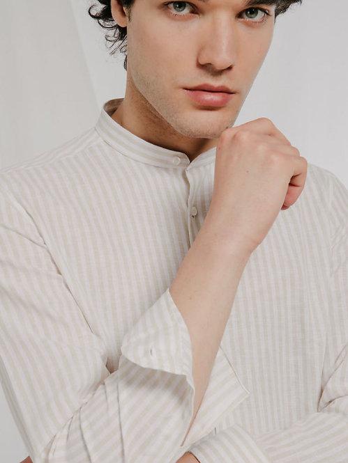 Camicia  Lino a righe beige
