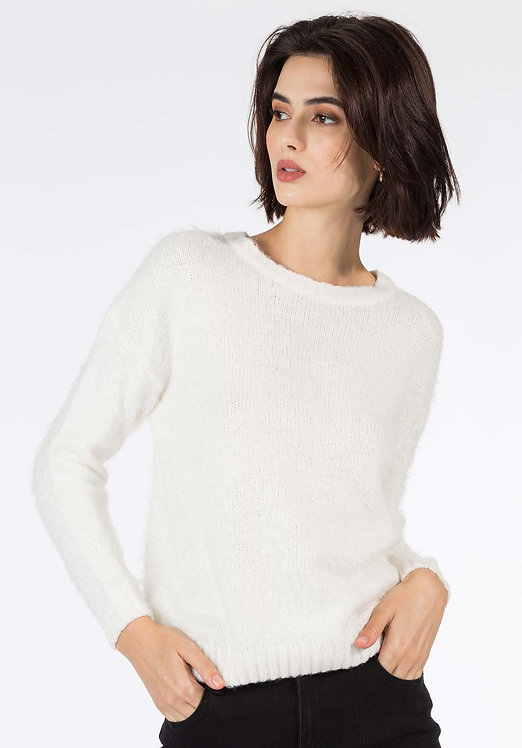 Maglione peloso bianco