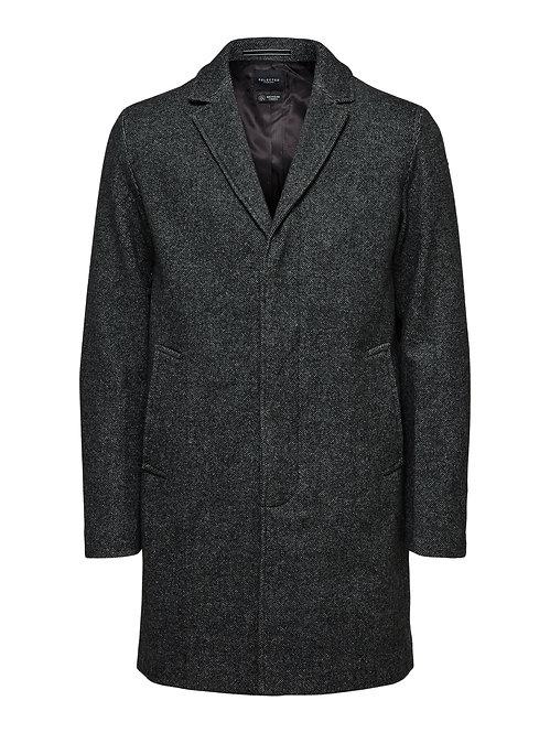 Cappotto misto lana 3 bottoni antracite