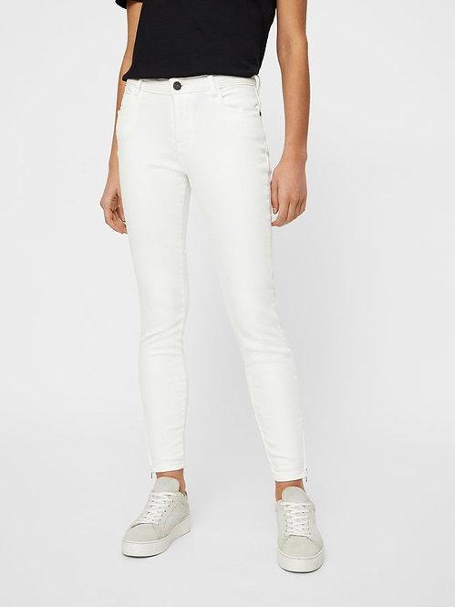 Jeans con zip Kimmy bianco