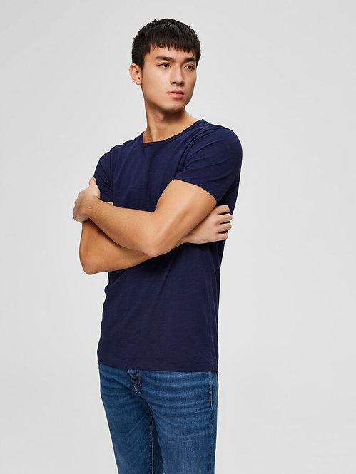 T-shirt taglio vivo blu Morgan