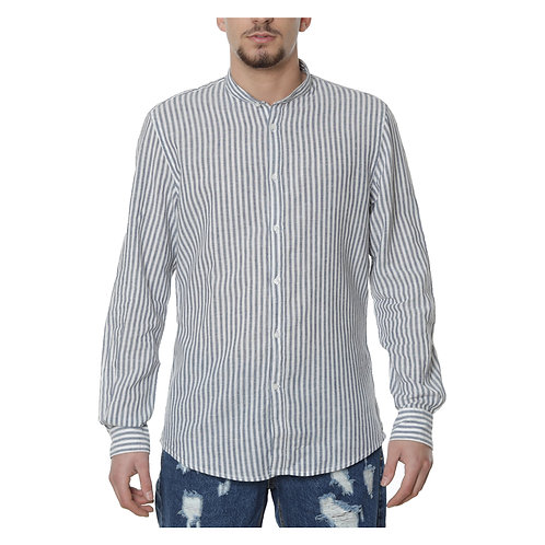 Camicia  Lino a righe blu