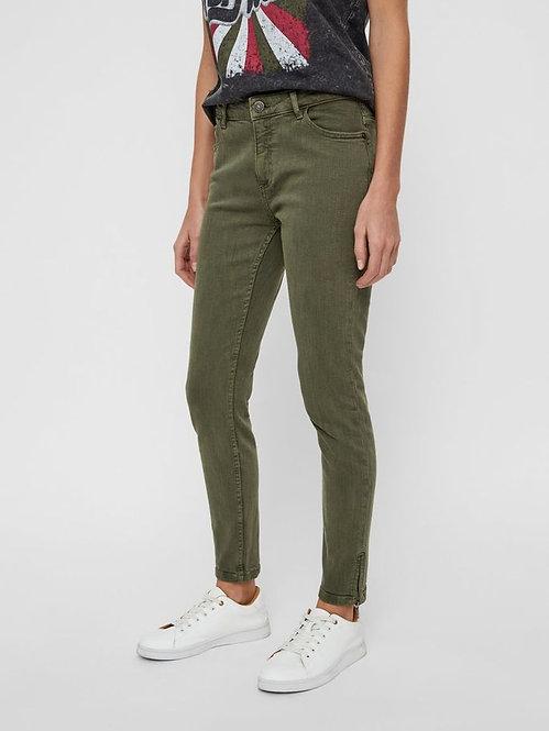 Jeans con zip Kimmy verde