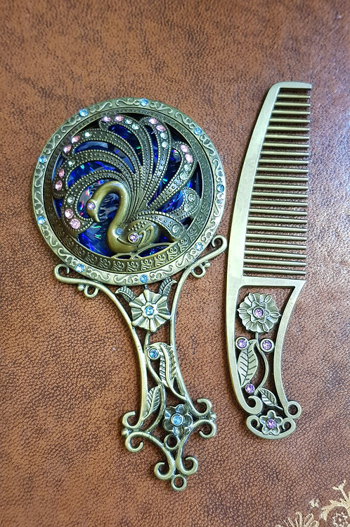 Miroir et peigne façon Art Nouveau