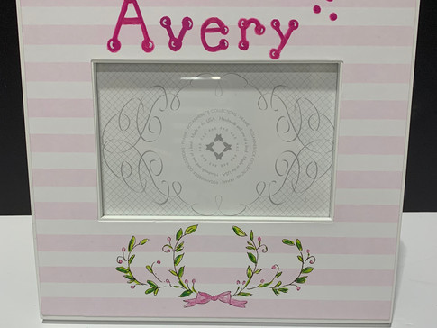 frame - pink striped with garland