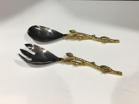 Gold vine salad servers