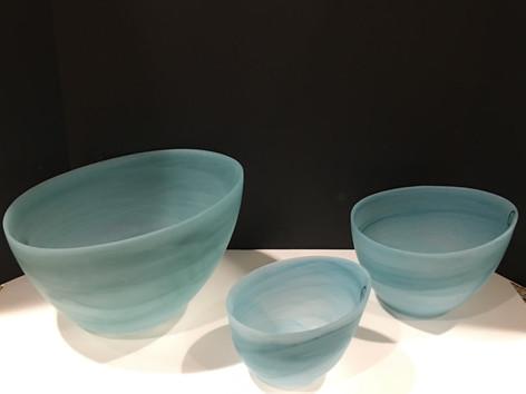 Turquoise alabaster bowls