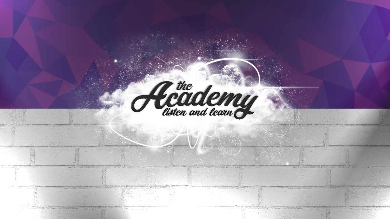academy logo purple wall